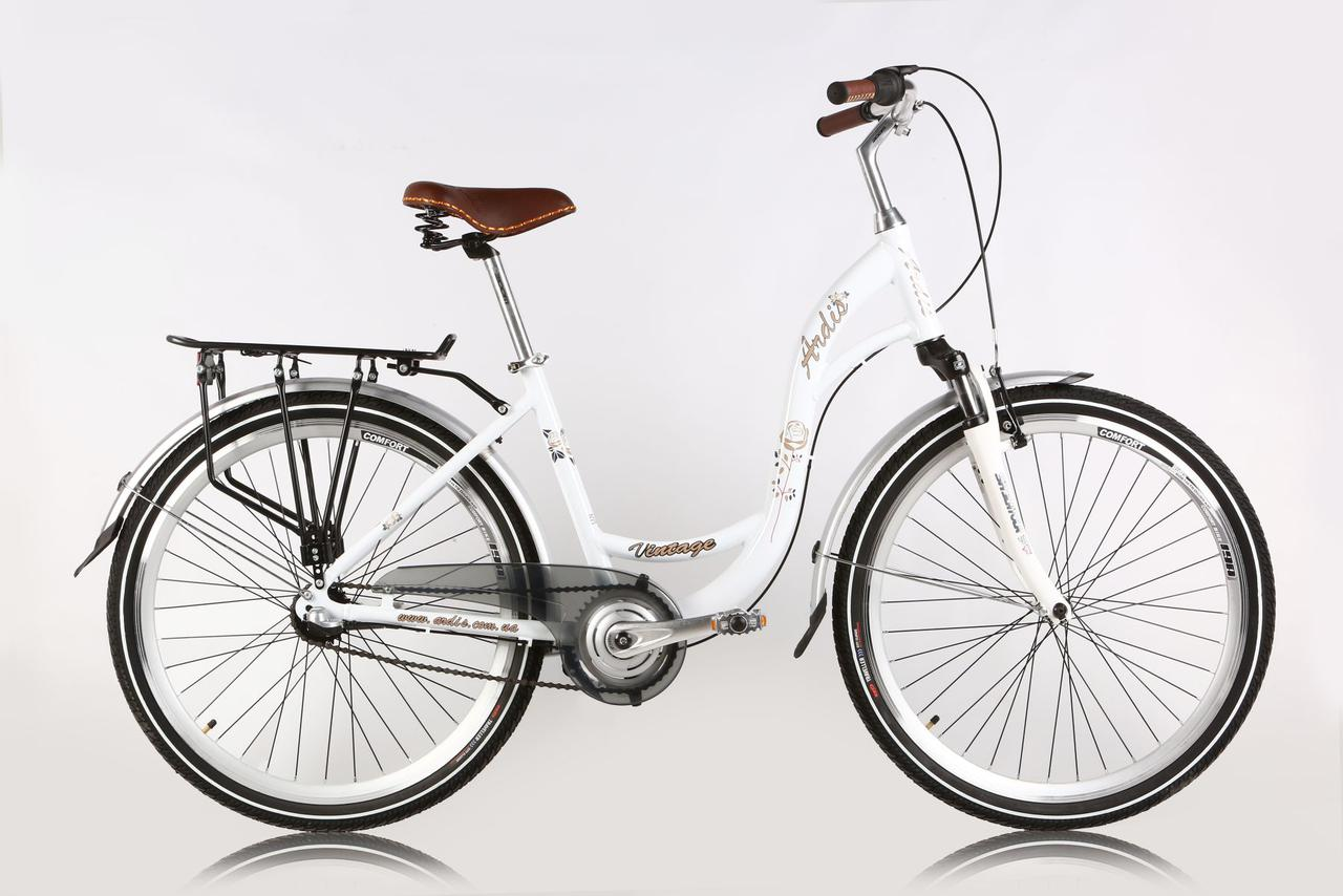 """Городской велосипед ARDIS """"VINTAGE"""" 26"""" алюминиевый с женской рамой, Белый"""