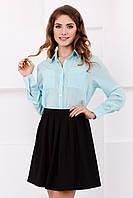 Мятная шифоновая рубашка женская