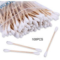 Одноразовая двусторонняя деревянная палочка с ватной головкой 100шт Белый