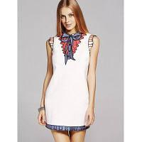 Мода Стенд шеи Sequins Bowknot Вышивка платье для женщин M