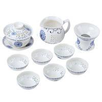 10шт / комплект полые Стиль синий фарфор подсолнечника чай комплект Набор A