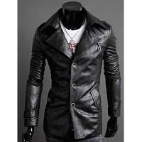 Куртка из искусственной кожи с дизайнерскими эполетами и винтажным воротником M