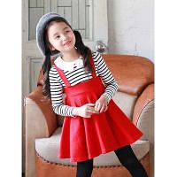 Платье для девочки в школьном стиле с имитацией полосатой блузки и красного сарафана 120