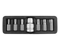 Биты TORX SECURITY 30mm c переходником 1/2 Т25-Т55 YT-0416