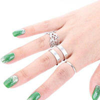 3шт Женские незамкнутые кольца из сплава с дизайном листа Серебристый