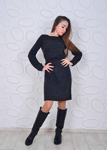 Мягкое повседневное ангоровое платье с пояском и рукавами фонариком