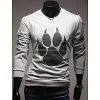 Круглый шеи Медведя Paw Дизайн Длинные рукава футболки для мужчин 2XL