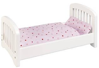 Кроватка для кукол из натурального дерева (белая) Goki 51734G