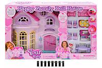 """Игровой Домик для кукол """"Home"""" 16670, музыка, свет, мебель и фигурка, кукольный домик"""