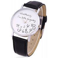 Женские наручные кварцевые часы с круглым циферблатом с надписями без отметок Чёрный
