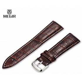 MEGIR 24мм PU кожаный ремешок для часов с пряжкой - Коричневый