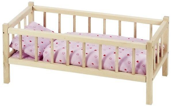 Кроватка для кукол с боковинками из натурального дерева Goki RA107G