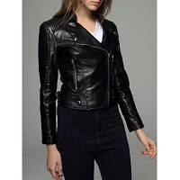 Укороченная Пу-Кожаная Женская Куртка На Молнии M