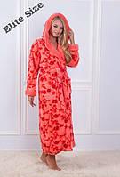 Женский красивый длинныйхалат с капюшоном в расцветкахкd-720022, фото 1