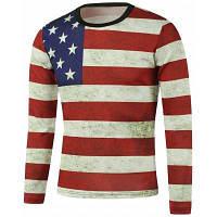 Толстовка с длинным рукавом и дизайнерским принтом американского флага 5XL
