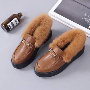 Жіночі туфлі з рудим хутром, фото 2