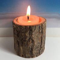 Оригинальный экологический деревянный подсвечник (без свечи)