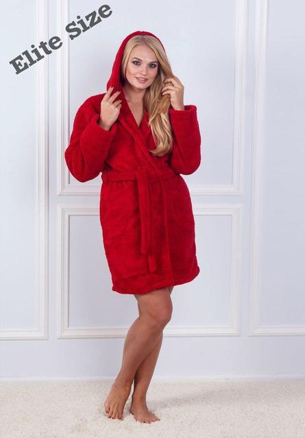 Женский теплый халат большого размера с капюшоном d-720023