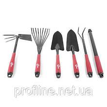 Набор огородный: лопата 330 мм, грабли 330 мм, грабли веерные 400 мм, сапка огородная 330 мм, удлинитель INTERTOOL FT-0020