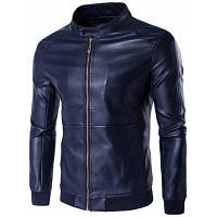 Куртка из искусственной кожи большого размера с воротником на стойку 5XL