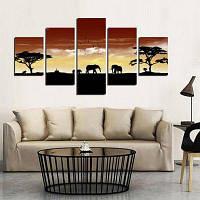 5шт Саванна слоны на закате печать на холсте стикер стены Цветной