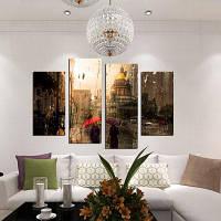 4шт гулять под дождем печати Холстины украшения стены 30cм x 60cм 2штуки+30cм x 80cм 2штуки