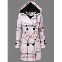 Женское шерстяное пальто в клетку с капюшоном L