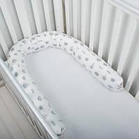 """Бампер, фиксатор, подушка для беременных и кормления, защита в кроватку """"Серые слоники"""""""