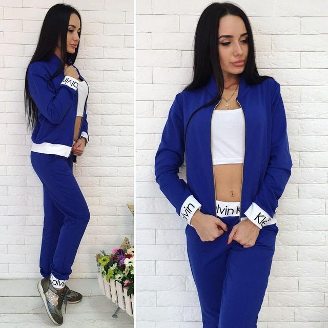 Спортивный женский костюм тройка, топ, кофта и штаны