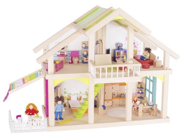 Кукольный домик 2 этажа с внутренним двориком, Susibelle из натурального дерева Goki 51588G