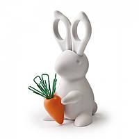 Ножницы и магнит со скрепками Desk Bunny Qualy (белый)