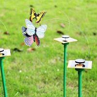 Летящая бабочка на солнечной батареи Цветной