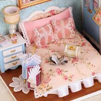 Кукольный дом мебель ручной работы миниатюрный комплект коробка с крышкой LED свет 41360