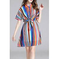 Красочные Stripes Waisted Bowknot рубашка платье L
