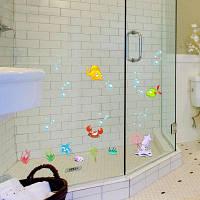 Съемный L001 Силы Ванная Комната Душ Стеклянные Двери Стикер Цветной