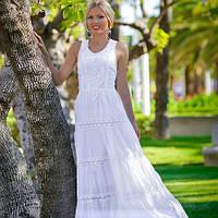 Женское летнее длинное белое платье из натурального хлопка с кружевом, Испания