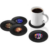4 шт Комплект подставок для чашки в виде ретро диска Чёрный
