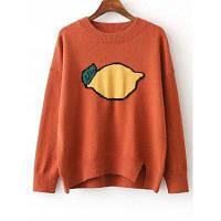 Split Фрукты печати Перемычка свитер один размер