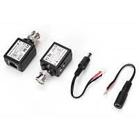 2шт пассивный приемник-передатчик видеосигнала по витой паре трансмиссия с витой парой для установка камер видеонаблюдения Чёрный