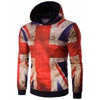 Мужская толстовка с капюшоном и рисунком 3D британского флага с ржавчиной XL