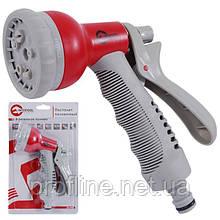 Пистолет-распылитель для полива 8-ми функциональный (центральный, туман, душ, угловой, полный, проливной дождь, конический, плоский.) ABS, PP,TPR