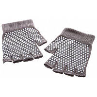 Хлопок Anti-Slip дышащие перчатки без пальцев Йога Серый