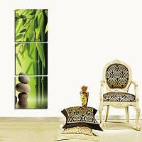 3шт вертикальные Бамбук галька печать на холсте стикер стены Цветной