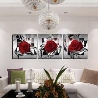 3шт цветущая Роза печать на холсте стикер стены Цветной