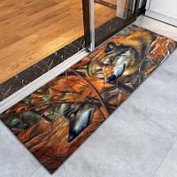 Противозаносный напольный ковер с шаблоном 3D печатных волков коври Разноцветный