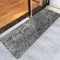 Противозаносный напольный ковер с шаблоном 3D печатным кольцом роста ковров Чёрный и серый