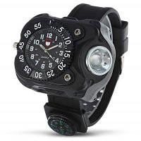 Водонепроницаемые наручные часы с LED фонариком и компасом для отдыха на природе Чёрный
