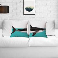 2PCS Shark Pattern Лен Подушка Дело Декоративная наволочка Цветной