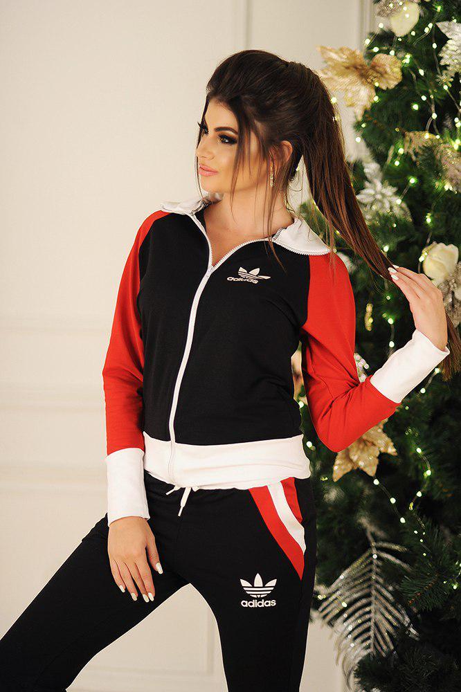 Женский спортивный костюм с воротом стойкой, реплика Adidas