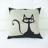 Мультфильм Cat Pattern Лен Подушка Дело Декоративная наволочка Чёрный